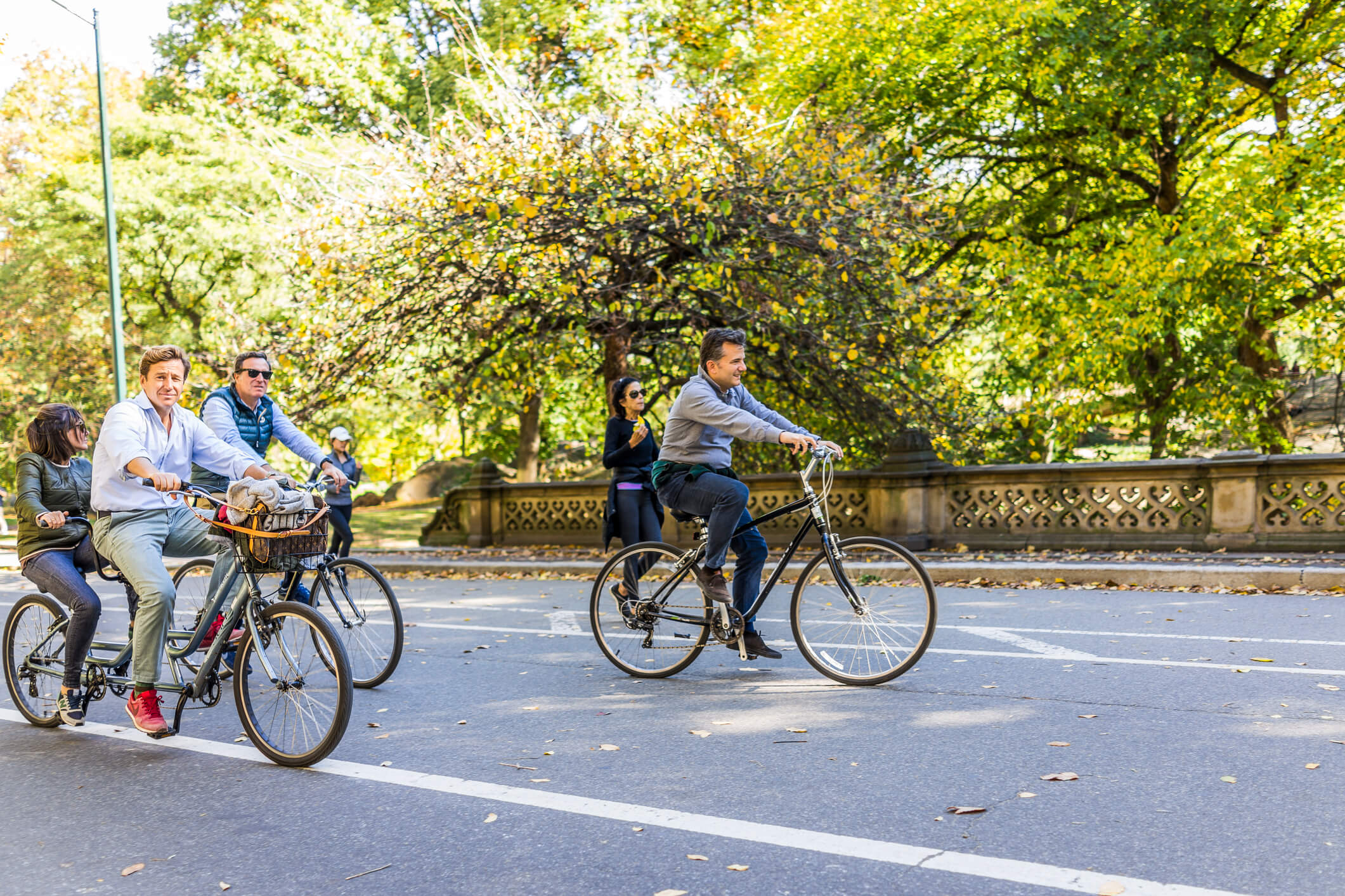 People cycling around Central Park